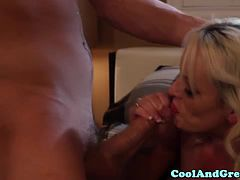 Glamcore blonde squirted with cum