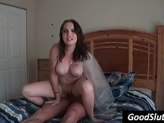 amateur girl with big tits rides dick