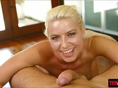 Voluptuous blonde beauty Anikka Albrite gets a nasty face fuck