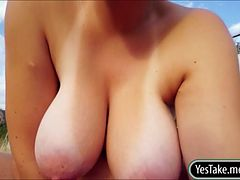 Paris Sweet flashes her natural jumbo tits in public then gets fucked