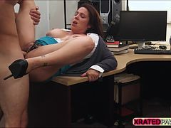 Super sexy desperate MILF punished at the shop instead gets caught sucking owners dick