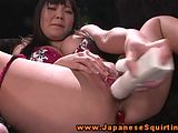 Asian babe squirts during self pleasing