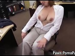 Busty amateur fucked in back of shop